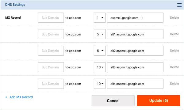 Alterar Vários Registros MX Do Gmail