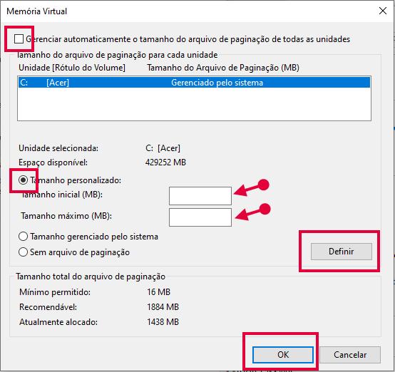 Definir tamanho da memória no Windows