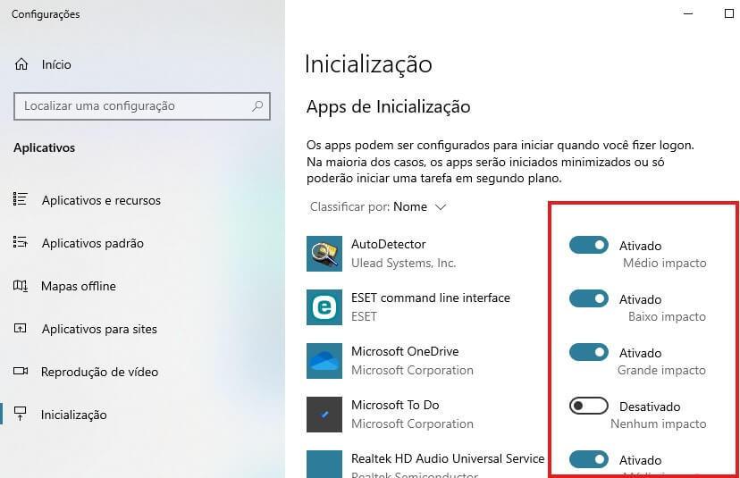 Desativar Aplicativos do Computador no Windows 10