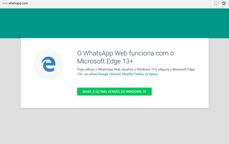 Faça o login no WhatsApp utilizando o browser Microsoft Edge