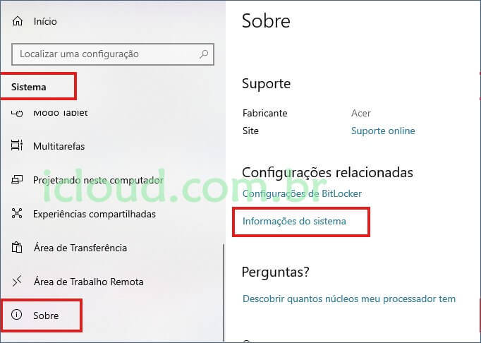 Informações do sistema Windows