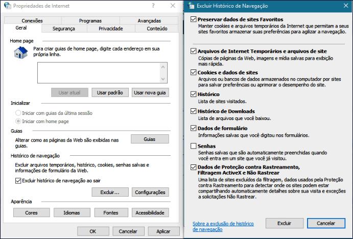 Limpar a pasta de arquivos de Internet Temporários no Windows 10
