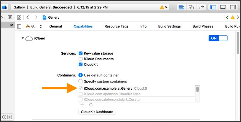 Ativar o iCloud para cloudkit