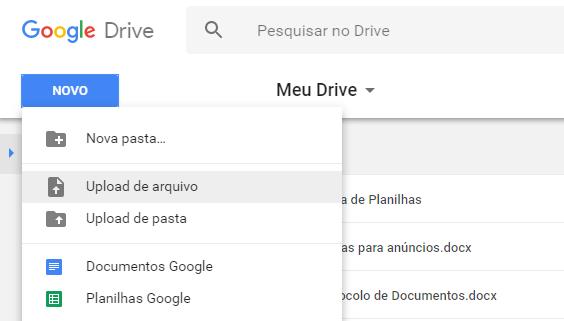 Como enviar arquivos para o Google Drive