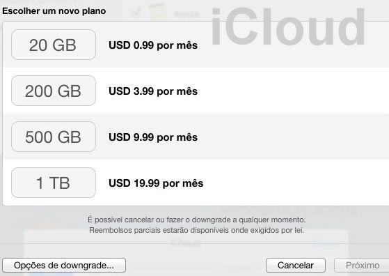Plano de armazenamento iCloud