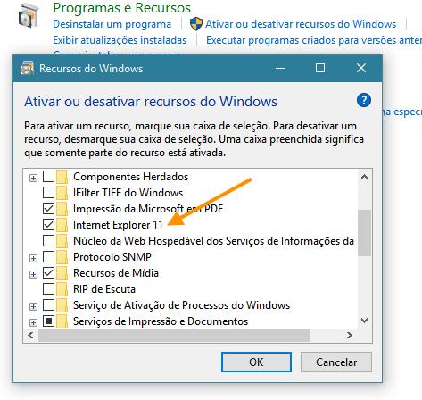 Desabilitar o Internet Explorer do Windows 10