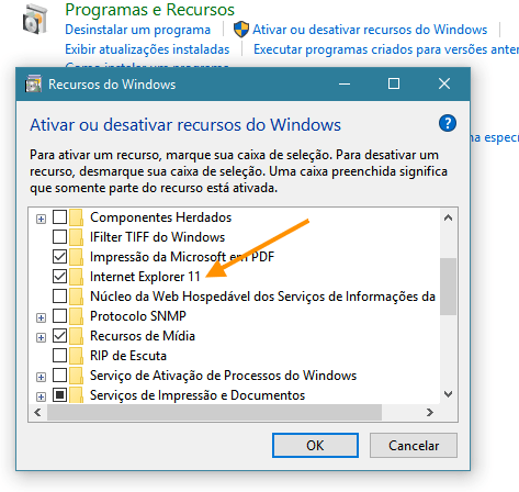 Desabilitar o Internet Explorer do Windows 10