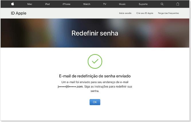 Recuperar a senha do e-mail do iCloud Mail