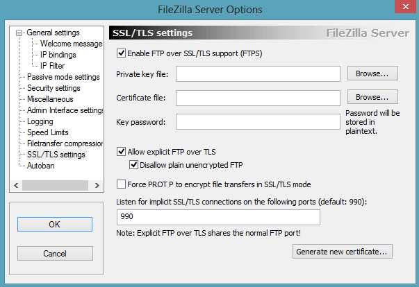 Instalar Certificado SSL no Servidor FileZilla