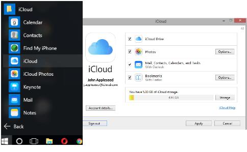 desinstalar o iCloud do Windows