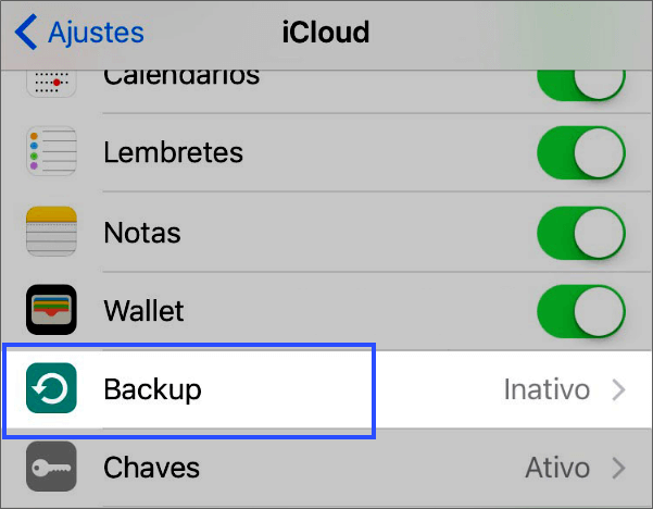 gerenciar o backup do iCloud