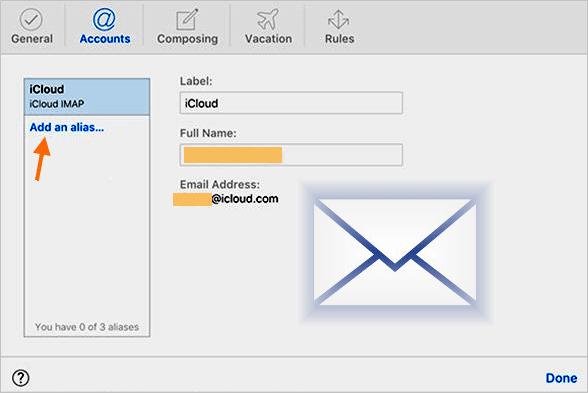 Criar um alias de e‑mail no Mail do iCloud