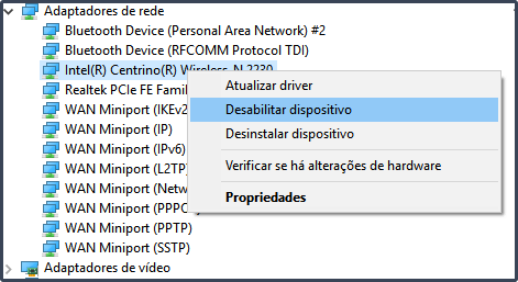 Desabilitar dispositivo Wireless