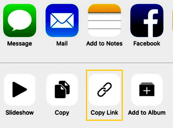 Compartilhar links para fotos do iCloud no iPhone
