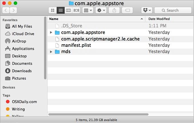 Como limpar o cache da App Store