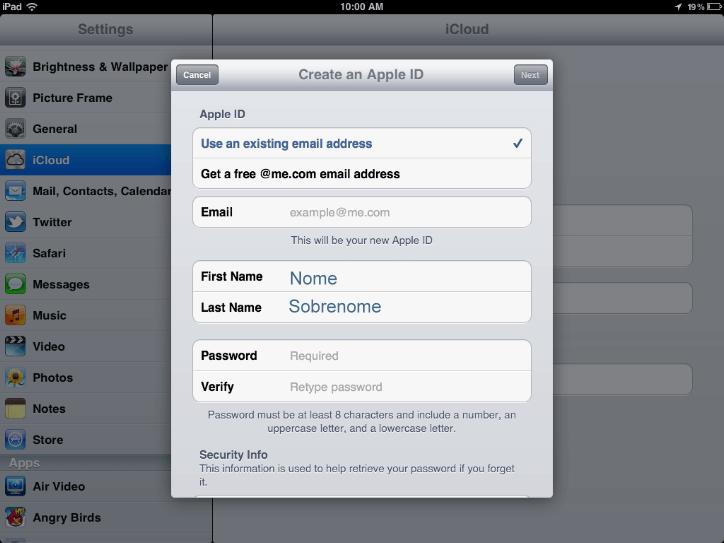 Registrar no iCloud