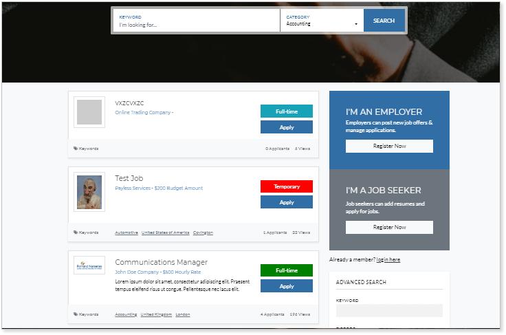 Crie um site de empregos