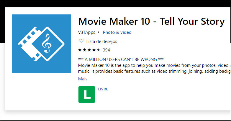 O que é o Movie Maker 10?