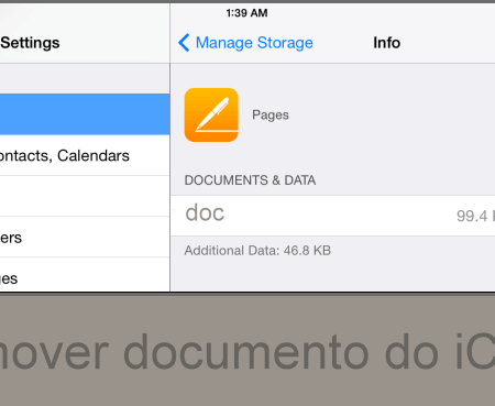 Como remover documentos do iCloud