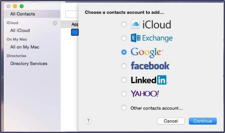 Exibir os contatos do Google em contatos do MacOS