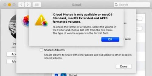 Erro de volume do iCloud Photos e APFS