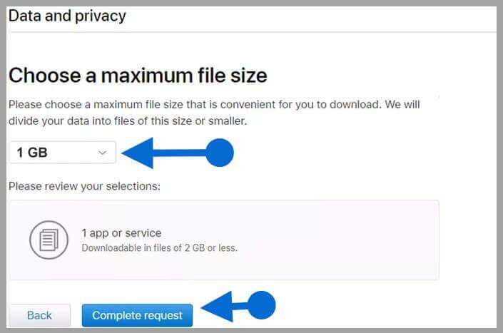 Escolher o tamanho do arquivo no iCloud