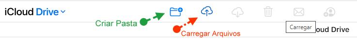 Carregar arquivos para o iCloud Drive