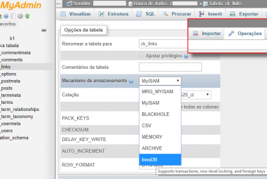 Mudar tabelas MyISAM para innoDB no MySQL