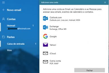 Alterar configurações de e-mail e conta no Windows 10