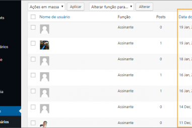 Exibir a data de registro do usuário no WordPress
